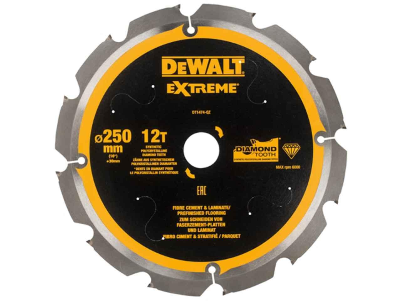Dewalt Dewdt1474qz Extreme Pcd Fibre Cement Saw Blade 250 X 30mm X 12t