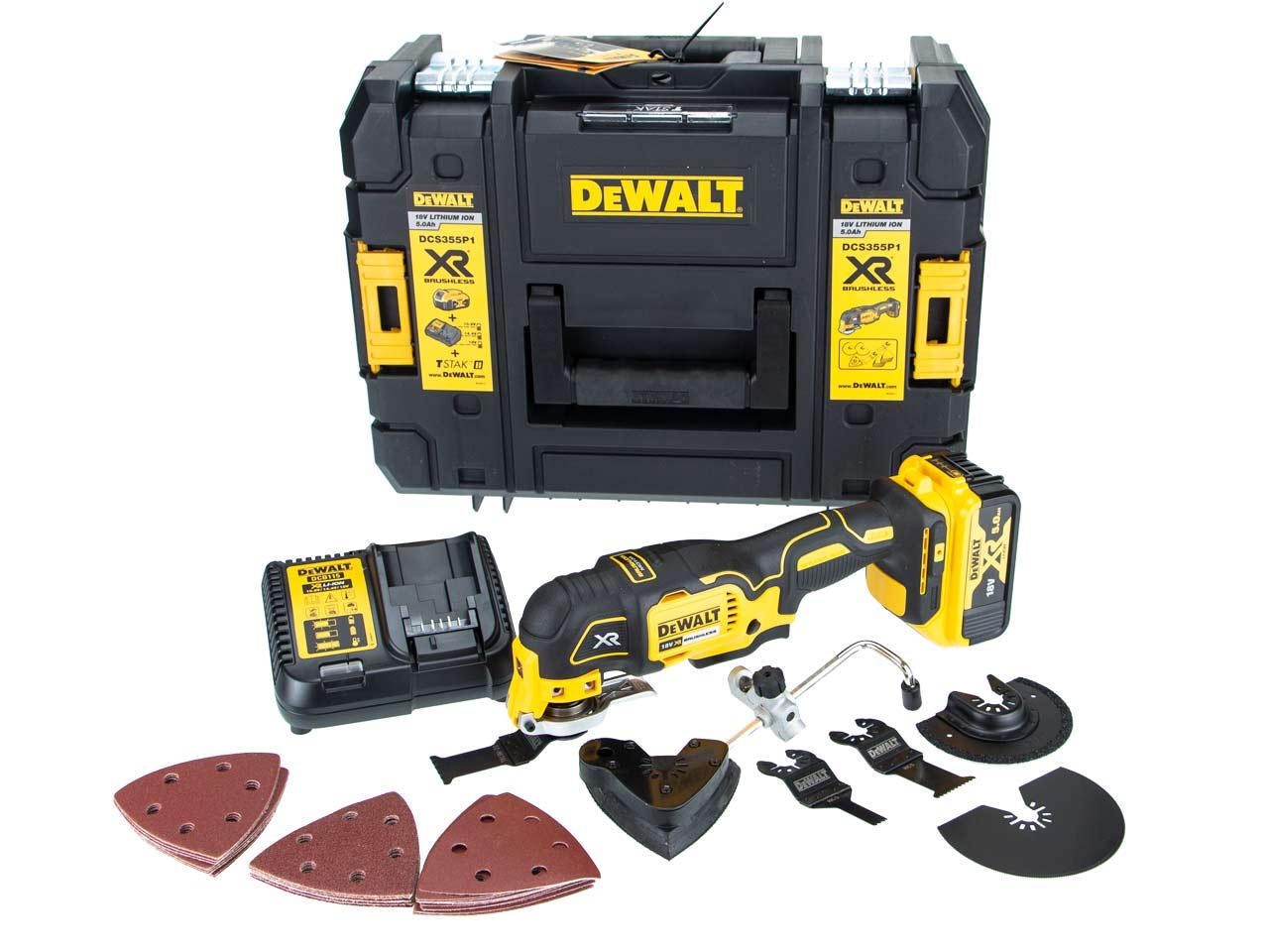 Dewalt DCS355P1 18v XR Brushless Oscillating Multi Tool 40 Accessory Kit 5.0AH