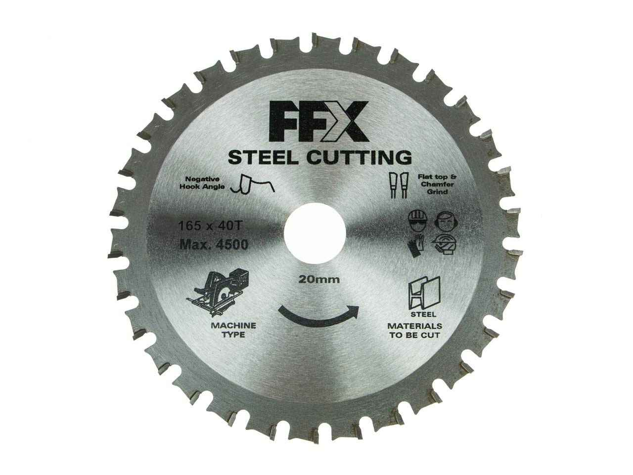 FFX QQ0102500245 165mm x 40T x 20mm TCT Cut Off Mild Steel Saw Blade