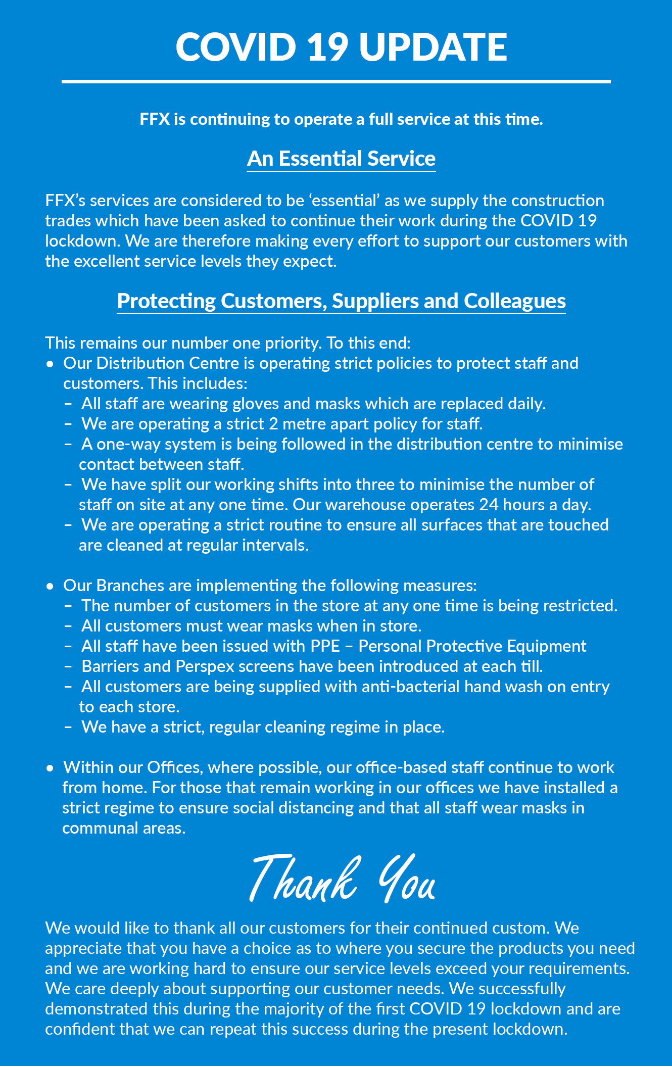 FFX Covid 19 Response